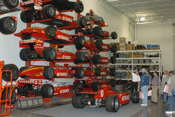 Former race cars at the Target Chip Ganassi Racing shop