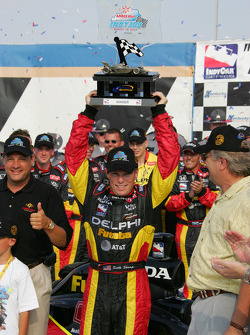 Victory lane: race winner Scott Sharp celebrates