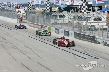 Dan Wheldon, Tony Kanaan and Dario Franchitti