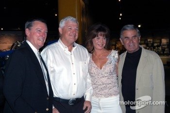 Newlyweds Wyatt and Joyce Swaim with Johnny Rutherford and Al Unser, Sr.