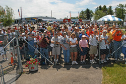 The crowd was waiting at the winners circle
