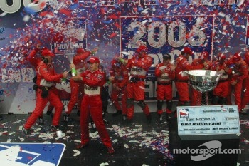 2006 IndyCar series champion Sam Hornish Jr. celebrates