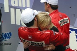 2006 IndyCar series champion Sam Hornish Jr. is congratulated by his wife Crystal
