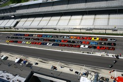 An aerial view of a Corvette line up