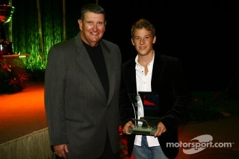 Marco Andretti receives the Rookie of the Year Award and Rising Star Award