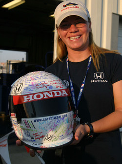 Sarah Fisher and her newly decorated helmet