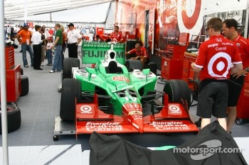 Car of Dan Wheldon is prepared for the race