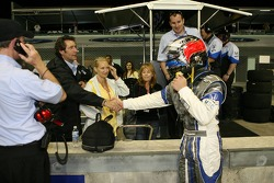 Ed Carpenter celebrates 6th place finish with Tony George