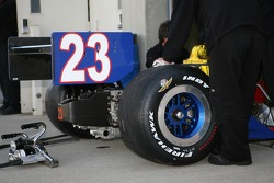 Rear wing of the #23 car driven by Milka Duno