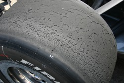 A Firestone tire after several laps around the Indianapolis Motor Speedway