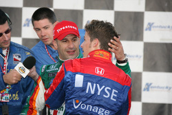 Winners circle: Tony Kanaan is congratulated by Marco Andretti