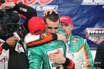 Winners circle: Tony Kanaan is congratulated by Dario Franchitti