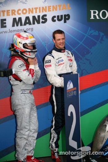 Race winner Alexander Wurz with Tom Kristensen