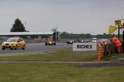 Felipe Nasr leads behind the safety car