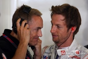 Martin Whitmarsh, McLaren, Chief Executive Officer, Jenson Button, McLaren Mercedes