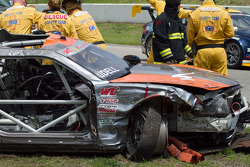 Alec Udell crashes big between turn three and four