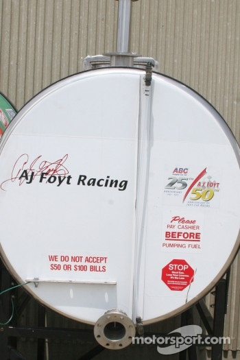 Humor on A.J. Foyt Enterprises Fuel Tank