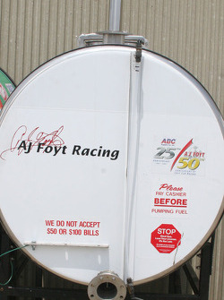 Humor on A.J. Foyt Enterprises Fuel Tank