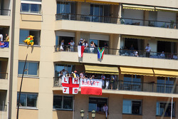 Fans on a balcony