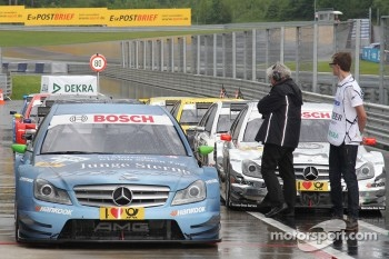 Cars in the parc ferme