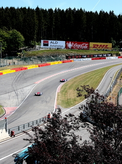 A Nissan duo, up Eau Rouge