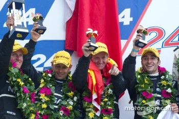 LM P2 podium: second place Franck Mailleux, Lucas Ordonez and Soheil Ayari