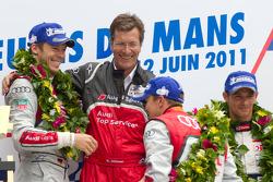LM P1 podium: André Lotterer with Ralf Juttner