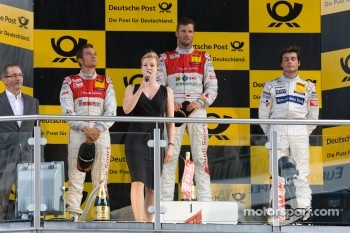 Podium: race winner Martin Tomczyk, Audi Sport Team Phoenix, second place Timo Scheider, Audi Sport Team Abt, third place Bruno Spengler, Team HWA AMG Mercedes