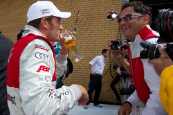 Second place Timo Scheider, Audi Sport Team Abt celebrates with Hans-Jürgen Abt