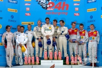 Podium: race winners Marc Lieb, Lucas Luhr, Romain Dumas, Timo Bernhard, second place Jorg Muller, Augusto Farfus Jr., Uwe Alzen, Pedro Lamy, third place Marc Basseng, Marcel Fssler, Frank Stippler