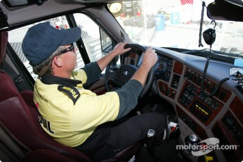 Inside the Panther Racing transporter