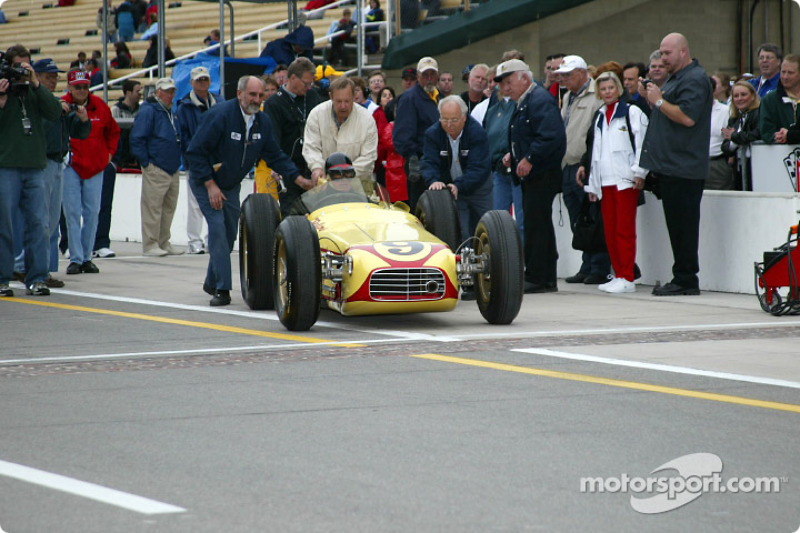The famous Belond Special was driven to a first place finish in the 1957 500 by Sam Hanks; Johnny Rutherford drove the car for this legends of the Indy 500 event