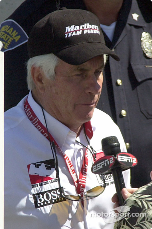 Roger Penske in a post race interview