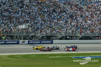 Sam Hornish Jr. taking the checkered flag 0.0024 of a second in front of Al Unser Jr., followed by Buddy Lazier, Helio Castroneves and Eddie Cheever