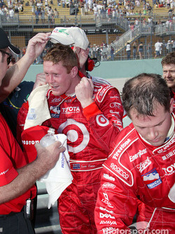 Race winner Scott Dixon celebrates victory