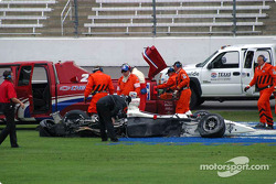 IRL safety team clean up the track after Airton Daré's crash