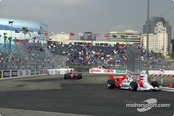 Helio Castroneves leads Tony Kanaan