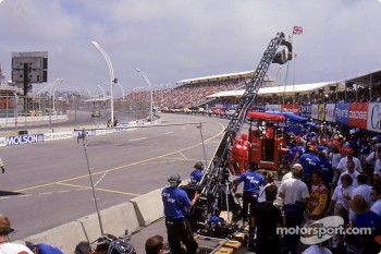 A racing scene shot in Toronto in July 2000