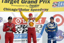 The podium: Gil de Ferran, Kenny Brack and Patrick Carpentier