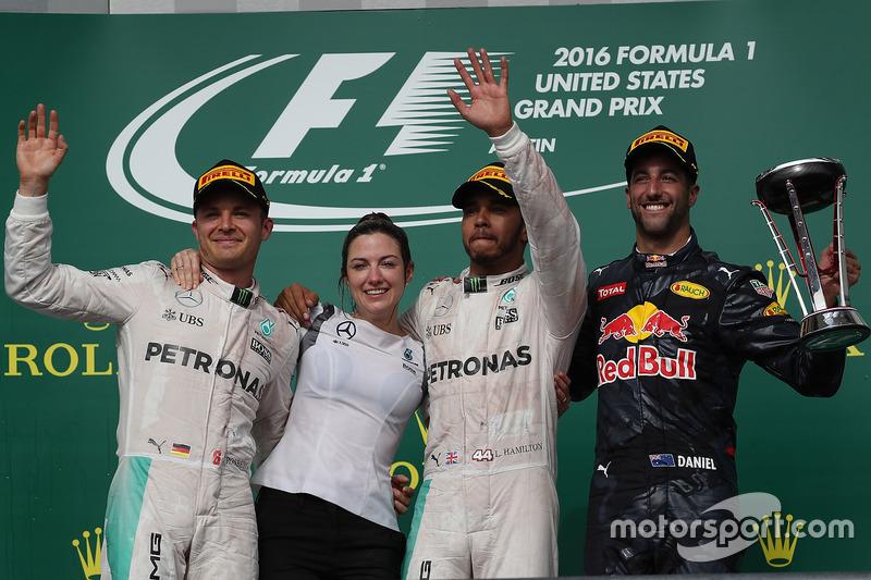 1. Lewis Hamilton, 2. Nico Rosberg, 3. Daniel Ricciardo