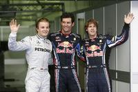 Formule 1 Foto's - Polesitter Mark Webber, Red Bull Racing, tweede plaats Nico Rosberg, Mercedes AMG F1, derde plaats Sebastian Vettel, Red Bull Racing