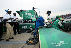 Dr. Earl Wheatfall, President of the 100 Black Men of America Milwaukee chapter, and 100 member Rueben Hopkins, time Paul Tracy's first pit stop