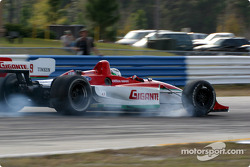 Michel Jourdain Jr. smokes the tires