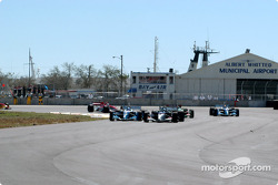 The start: Sébastien Bourdais leads Paul Tracy