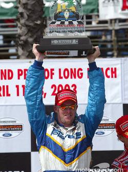 The podium: race winner Paul Tracy