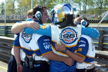 Paul Tracy celebrates pole position