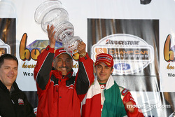 Race winner Michel Jourdain Jr. with Bobby Rahal