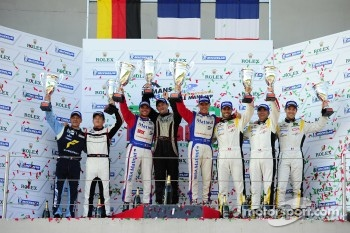 GTE-am podium: first place Nicolas Armindo, Raymond Narac, second place Patrick Long, Gianluca Roda, Christian Ried, third place Patrick Bornhauser, Julien Canal, Gabriele Gardel