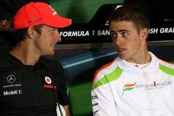 Jenson Button, McLaren Mercedes and Paul di Resta, Force India F1 Team