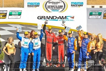 DP Podium: race winners Jon Fogarty, Alex Gurney, second place Scott Pruett, Memo Rojas, third place Max Angelelli, Ricky Taylor
